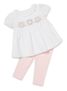 White Woven Top and Pink Leggings Set (Newborn-12 months)