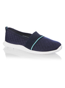 Navy Checked Slip On Trainers