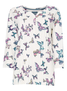 Multicoloured Butterfly Print Top
