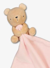 Beige Bear Pink Blanket Comforter (One Size)