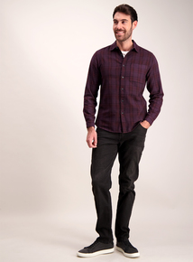 Purple Check Regular Fit Shirt
