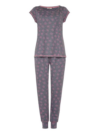 b4ad9cff2db9 Womens Navy Hedgehog Print Pyjamas