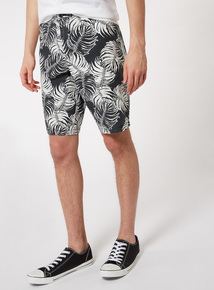Monochrome Palm Leaf Print Chino Shorts