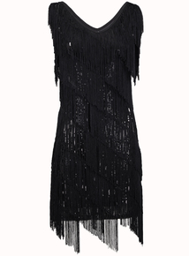 IZABEL Black Sequin Tassel Dress