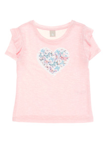 Pink Two Way Sequin Heart Snit Top