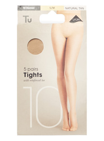 Natural Tan 10 Denier Lycra Tights 5 Pack
