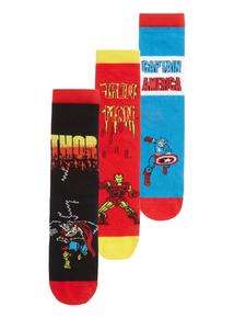 Boys Multicoloured Disney Marvel Avengers Socks 3 Pack