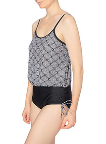 Geometric Print Blouson Swimsuit