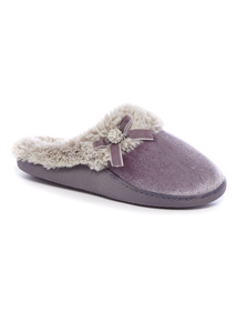 Velvet Bow Detail Slippers