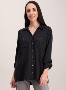 Washed Black Roll Sleeve Shirt