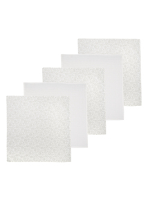 White Muslin Squares 5 Pack (0-24 months)