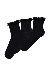 3 Pack of Plain and Sparkly Ankle Frill Socks
