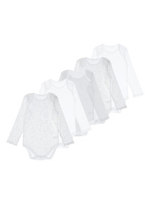 Unisex White Long Sleeved Bodysuits 5 Pack (0-24 months)