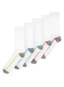 White Neon Stripe Sport Socks 5 Pack