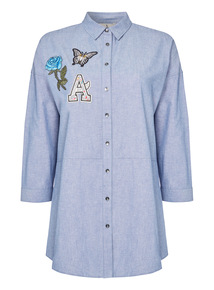 Blue Appliqué Chambray Shirt