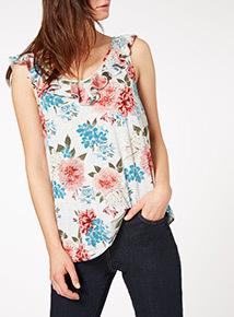 Floral Print Frill Vest