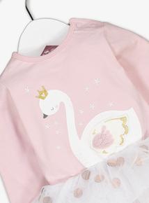 Pink Swan Tutu Bodysuit & Tights Set (0-36 months)
