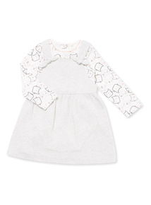 Grey Kitty Print Pinafore and Bodysuit Set (0-24 months)