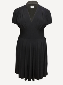 EMILY Black Dita 1940s Jersey Short Sleeve Dress