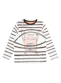 White Monster Stripe Tee (9 months- 6 years)