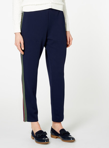 Navy Tapered Side Stripe Trousers