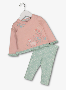 Pink & Green Deer Appliqué Top & Legging Set (0-24 months)