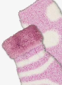 Purple Turn-Over Cosy Socks 2 Pack