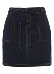 Denim Belted Cargo Skirt