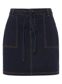 Denim Belted Cargo Skirt