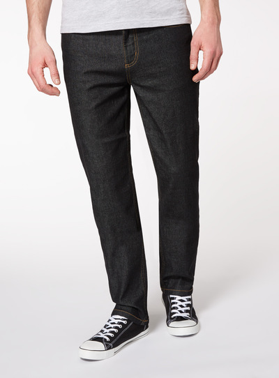 Black Wash Denim Straight Leg Jeans with Stretch