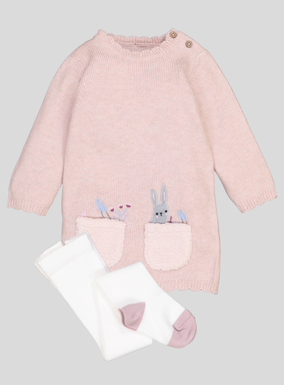 d6005eab4 Baby Light Pink Bunny Knitted Dress   Tights (0-24 months)