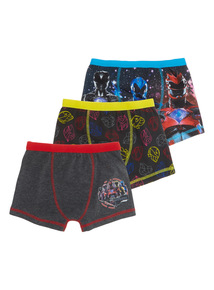 Boys Black Power Ranger Trunks 3 Pack (3 - 12 years)