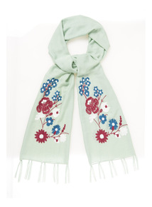 Green Embroidered Scarf