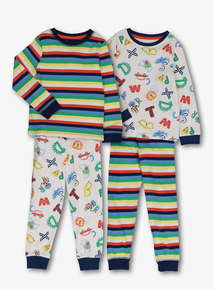 78fc28d79b598 Multicoloured Alphabet Print Pyjamas 2 Pack (1-6 years)