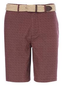Dark Red Belted Chino Shorts