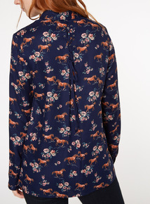 Navy Horse Print Western Shirt