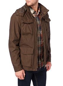 Khaki Washed Hooded Parka Jacket