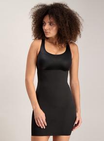 Black Secret Shaping Round Neck Slip Dress