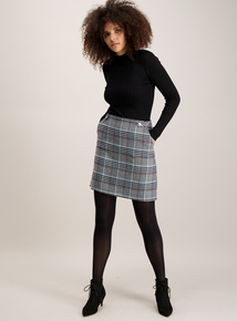 Pale Blue Check A-Line Mini Skirt