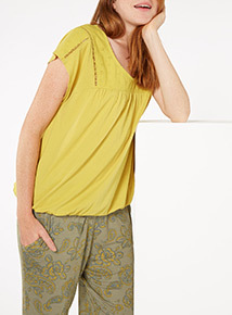 Green Broderie Top