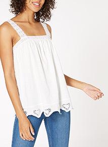 Cream Crochet Strap Broderie Vest