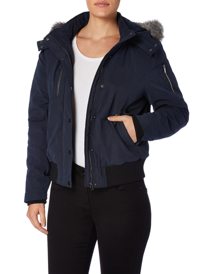 Womens Navy Hooded Bomber Jacket | Tu clothing