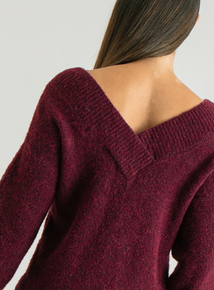 Premium Online Exclusive Burgundy V Neck Jumper