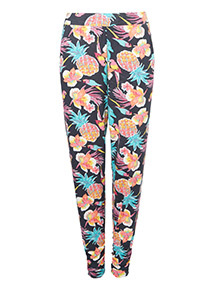 Floral Print Draped Trousers