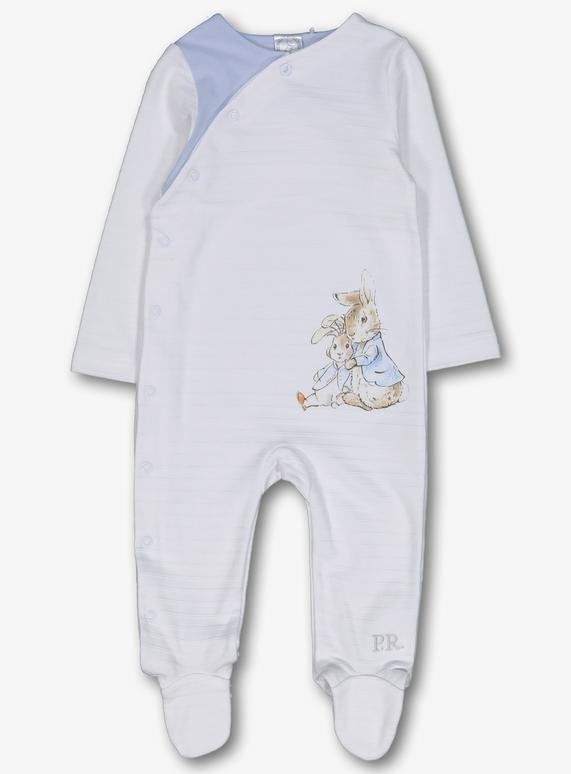 58b15d132 Online Exclusive Peter Rabbit White & Blue Sleepsuit (Newborn- 12 months)