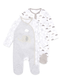 2 Pack White Elephant Sleepsuits (Newborn-12 months)