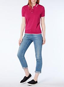 Pink Pique Polo Shirt
