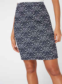 Navy Floral Print Textured Skirt