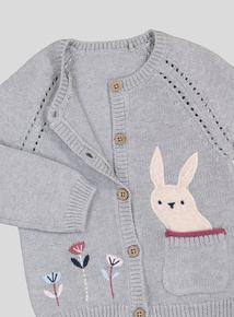 Grey Bunny Pocket Cardigan (0-24 months)