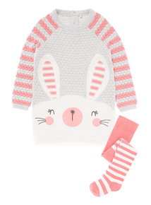 Girls Grey Bunny Knitted Dress (0-24 months)